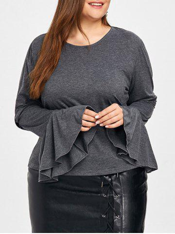 Chic Plus Size Flare Sleeve Blouse