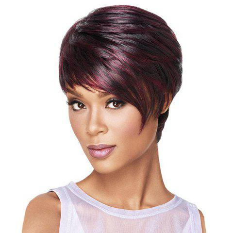 Best Short Side Bang Layered Colormix Straight Synthetic Wig