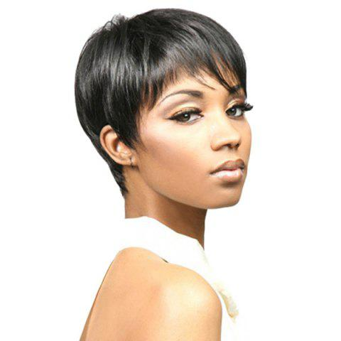 Cheap Short Side Bang Straight Capless Synthetic Wig