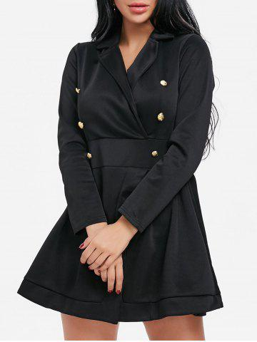 Shops Lapel Collar Button Long Sleeve Dress
