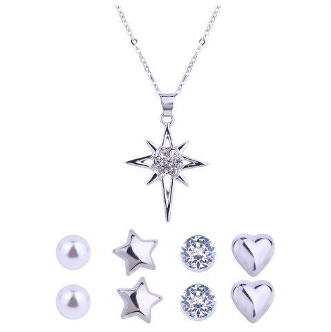 Fancy Artificial Diamond Star Necklace and Stud Earrings Set