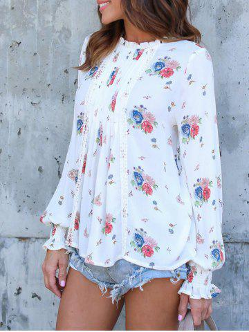 Online Long Sleeve Floral Print Chiffon Blouse