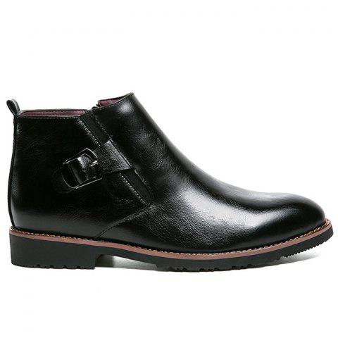 Discount Zip Buckle Pointed Toe Chukka Boots