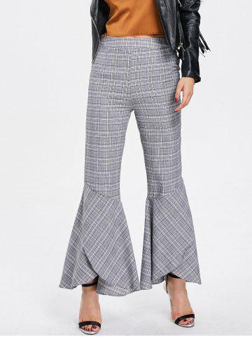 Outfit Zipper Plaid Flare Bottom Pants