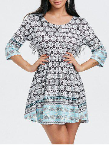 Cheap Floral Printed Scoop Neck Mini Dress
