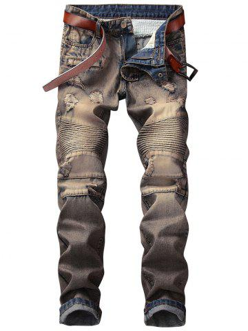 Sale Straight Leg Retro Distressed Biker Jeans