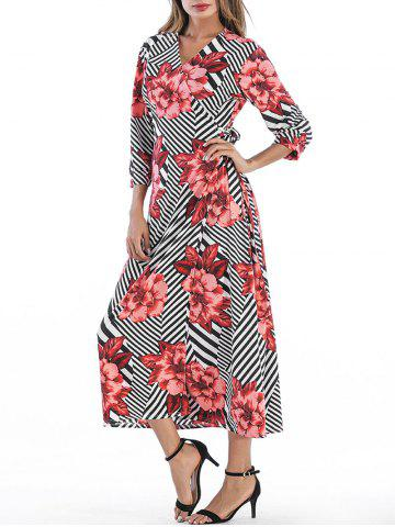 Fancy V Neck Floral Printed Dress