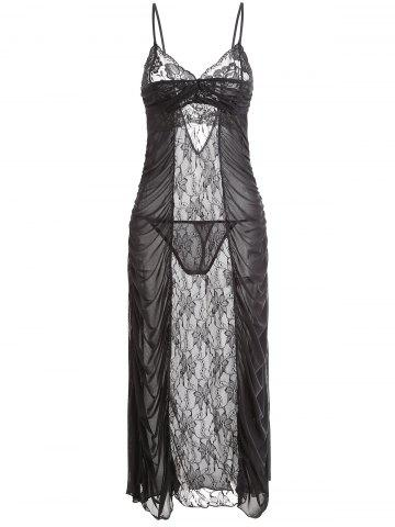 Outfits Long Lace Mesh Ruched Slip Dress
