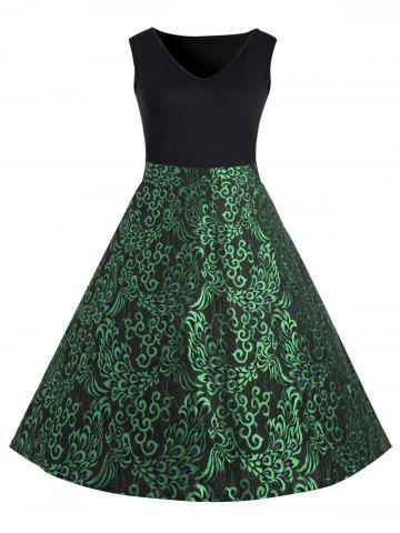 Latest Plus Size Paisley Midi 1950s Style Dress