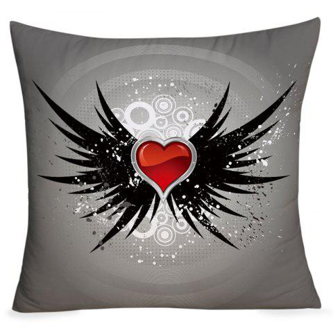 Affordable Valentine's Day Heart with Wings Printed Throw Pillow Case