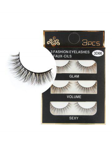 Trendy 3 Pairs Handmade Natural Long Eyelashes Set