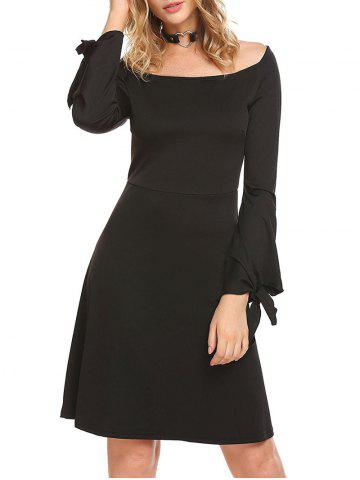 Latest Long Sleeve Boat Neck A Line Dress