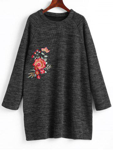 Unique Floral Embroidered Plus Size Sweatshirt Dress