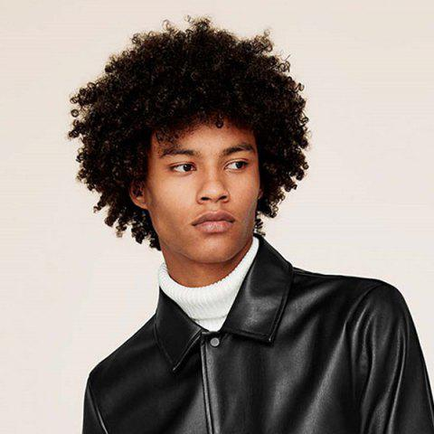 Affordable Short Side Bang Fluffy Afro Curly Synthetic Wig For Men