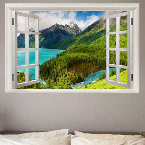 Store Mountain and River Scenery Printed Window View Removable Wall Sticker