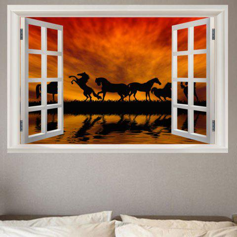 Hot Horse In The Sunset Pattern Removable Window View Wall Sticker