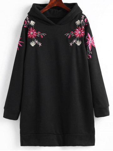 Affordable Fleece Lined Embroidered Plus Size Hoodie Dress