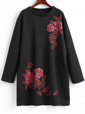 Store Plus Size Fleece Lined Floral Sweatshirt Dress