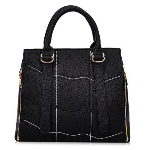 Sale PU Leather Stitching Geometric Scallop Handbag