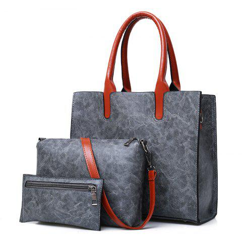 Chic Faux Leather Tote Handbags Set 3 Pieces