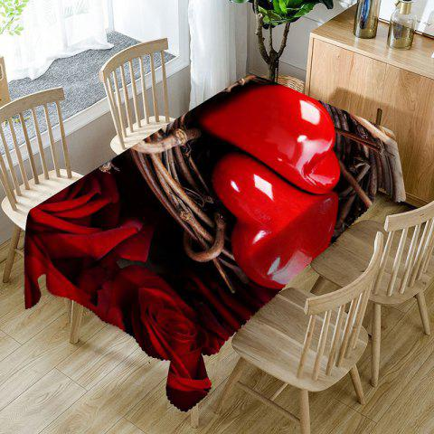Discount Valentine's Day Roses Love Hearts Print Waterproof Table Cloth