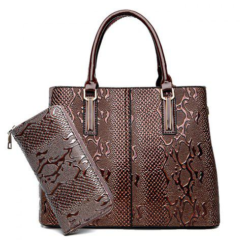Buy PU Leather 2 Pieces Embossing Handbag Set