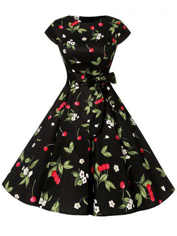 Hot Short Sleeve Cherry Print A Line Dress