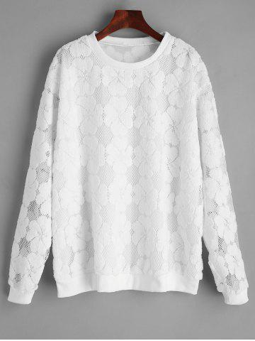 Shop Plus Size Embroidery Lace Sweatshirt