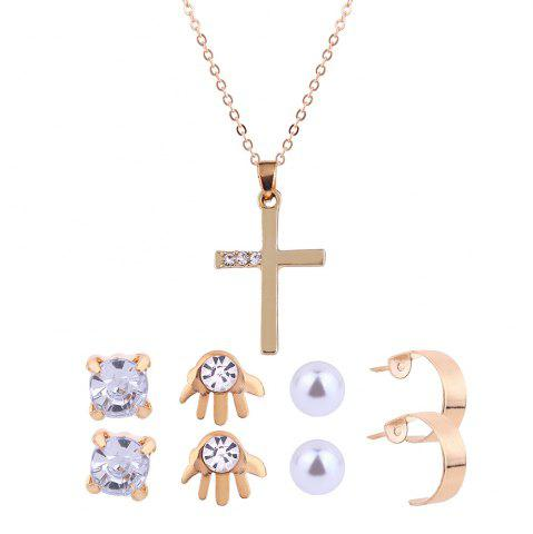 Fashion Faux Diamond Inlay Cross Necklace and Stud Earrings Set