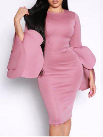 Latest Dramatic Petal Sleeve Bodycon Dress