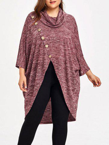 Affordable Plus Size Cowl Neck Space Dye Top