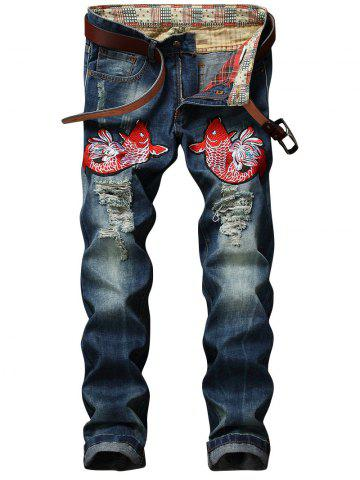 Buy Fish Embroidery Straight Leg Distressed Jeans