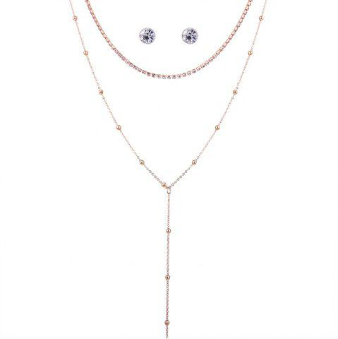 Hot Simple Rhinestone Pendant Necklace with Earrings