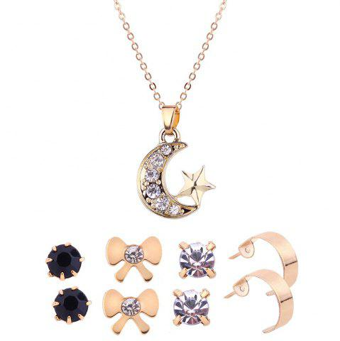 Online Rhinestone Star Moon Necklace with Earring Set