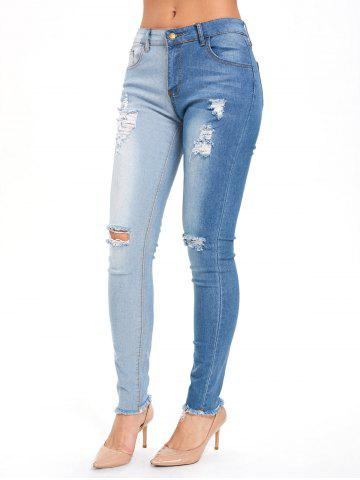 Store Color Block High Waisted Ripped Jeans