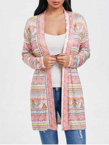 Online Printed Tunic Open Front Cardigan