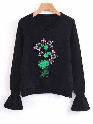 Fashion Floral Embroidered Flouncy Sleeve Sweater