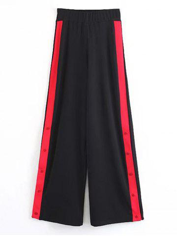 Trendy Contrasting Snap Button Wide Leg Pants