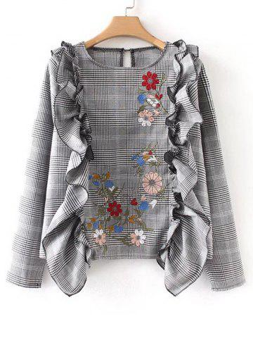Outfit Floral Embroidered Ruffles Plaid Blouse