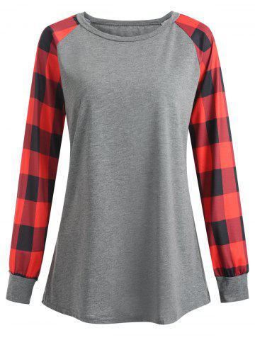 Hot Plus Size Plaid Panel Raglan Sleeve  Tee