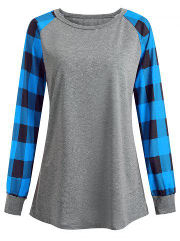 Fancy Plus Size Plaid Panel Raglan Sleeve  Tee