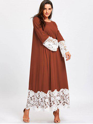 Long Sleeve Lace Trimmed Maxi Shift Dress