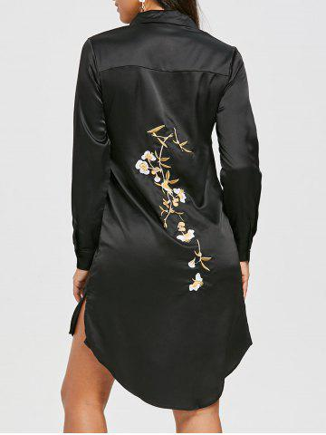High Low Embroidered Shirt Dress