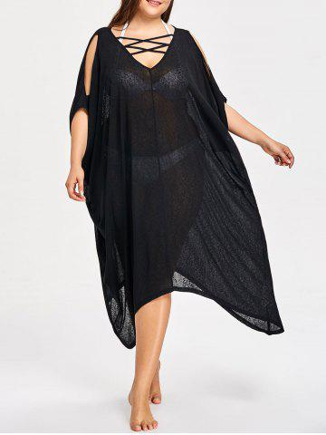 Cheap Plus Size Sheer Lattice Neck Cover-ups