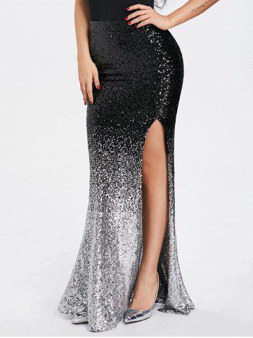 Shiny Sequins Ombre High Slit Maxi Юбка