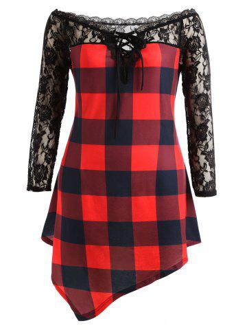 Discount Plus Size Lace Panel Tartan Asymmetrical T-shirt