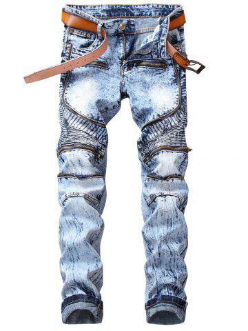 Cheap Straight Leg Zipper Embellished Biker Jeans