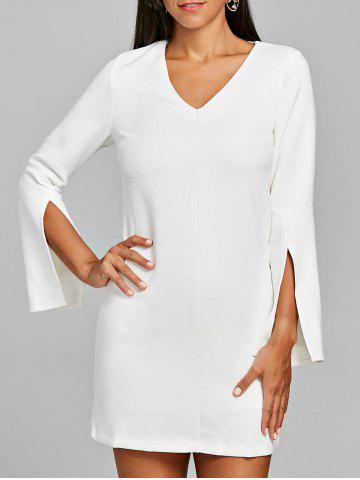 New Slit Sleeve V Neck Shift Dress
