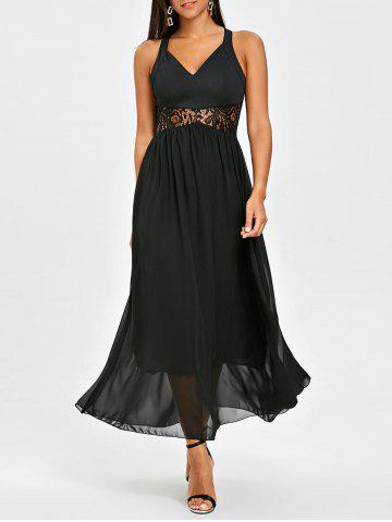 Cheap Chiffon Racerback Lace Insert Long Dress