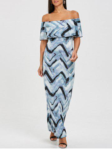 Zigzag Ruffle Off The Shoulder Maxi Dress